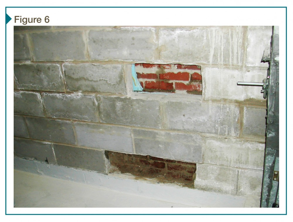 Water leakage through brick veneer/cavity wall can be seen from the interior through openings in the backup wall. The veneer does not provide actual waterproofing for this assembly due to presence of drainage plane and weather-resistant barriers.