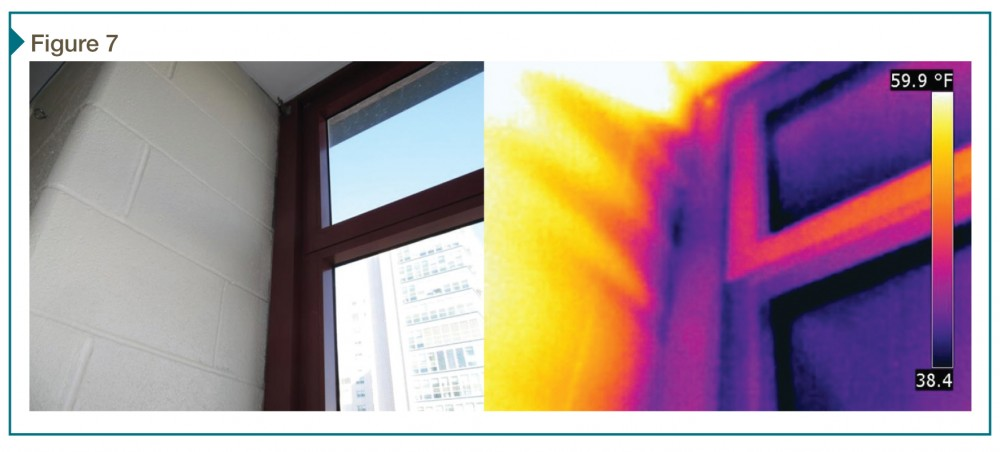 This infrared image shows air leakage around a window perimeter during a whole-building test.