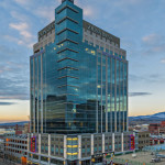 Located in downtown Boise, Eighth and Main's 18-story mixed-use building is the tallest building in Idaho and the first in the state to use unitized curtain wall. Photos © Marc Walters Photography. Photos courtesy Wausau Window and Wall Systems