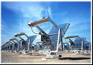 The Q-Trac sunlight concentrator (Buckeye, Arizona) uses 10 mirrors and natural sunlight to simulate 20 years of sun weathering in just two years. [CREDIT] Photo courtesy Q-LAB CORPORATION