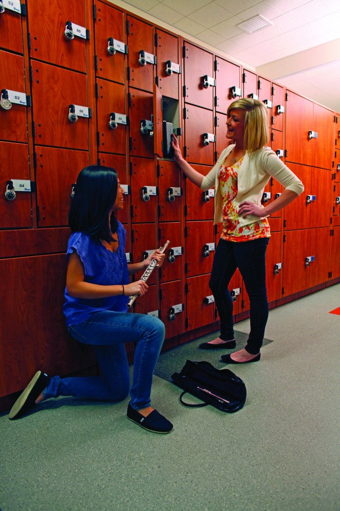 At Hart High School, instrument storage cabinets located outside the rehearsal room provide students easy access without disrupting rehearsals. Individual locked cabinets protect student instruments and belongings.