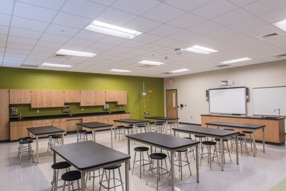 Light-emitting diodes (LEDs) comprise more than 80 percent of the fixtures at Sandy Grove Middle School in Lumber Bridge, North Carolina. Photo courtesy Cree