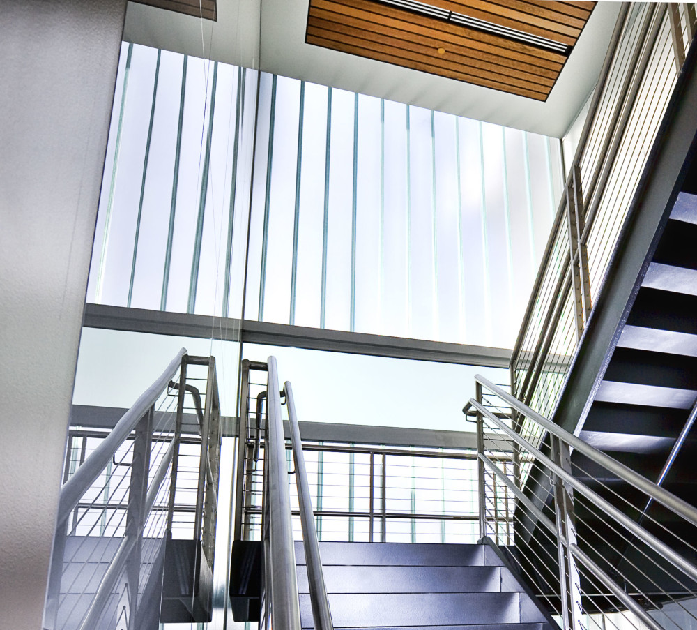 Large-missile impact-resistant channel glass allows for daylight transfer while helping protect buildings and occupants against severe storms. Photos courtesy TGP