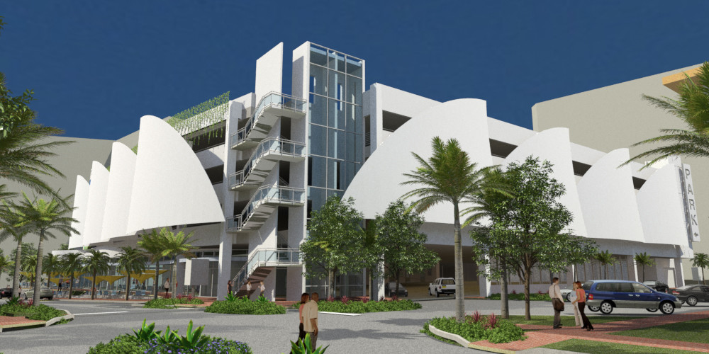 More than 2510 m2 (27,000 sf) of PTFE membranes will be used in the design of the Pompano Beach Parking Garage in Pompano Beach, Florida. Photo courtesy Birdair