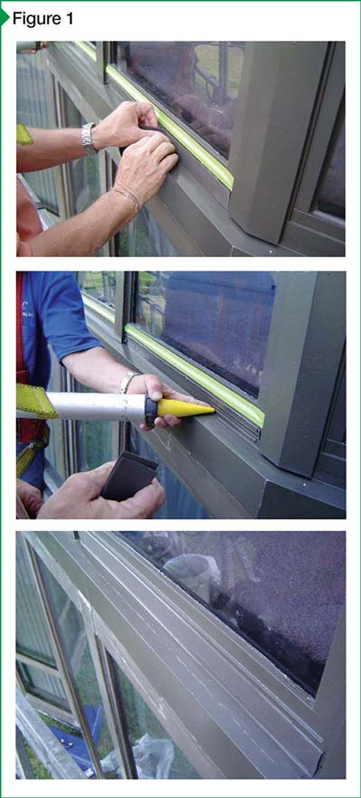 These images demonstrate the basic steps involved in installing pre-cured sealants, including the application of the adhesive, pressing the pre-cured sealant into place, and the completed installation.