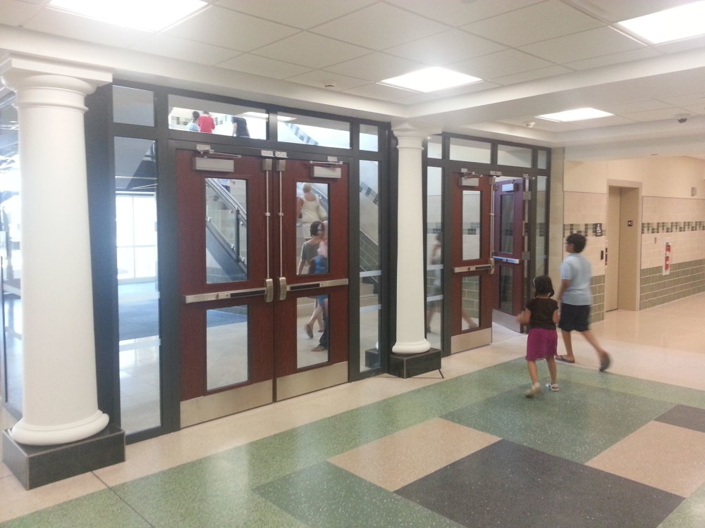 South Fayette Intermediate School in McDonald, Pa., features a fire-rated glass open stairway that allows more natural daylight into the building's internal pathways. Photos courtesy Vetrotech