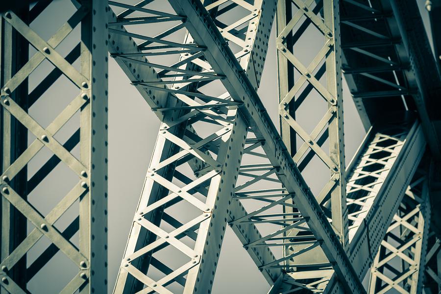 detail Modern Bridge frame closeup. Filtered image