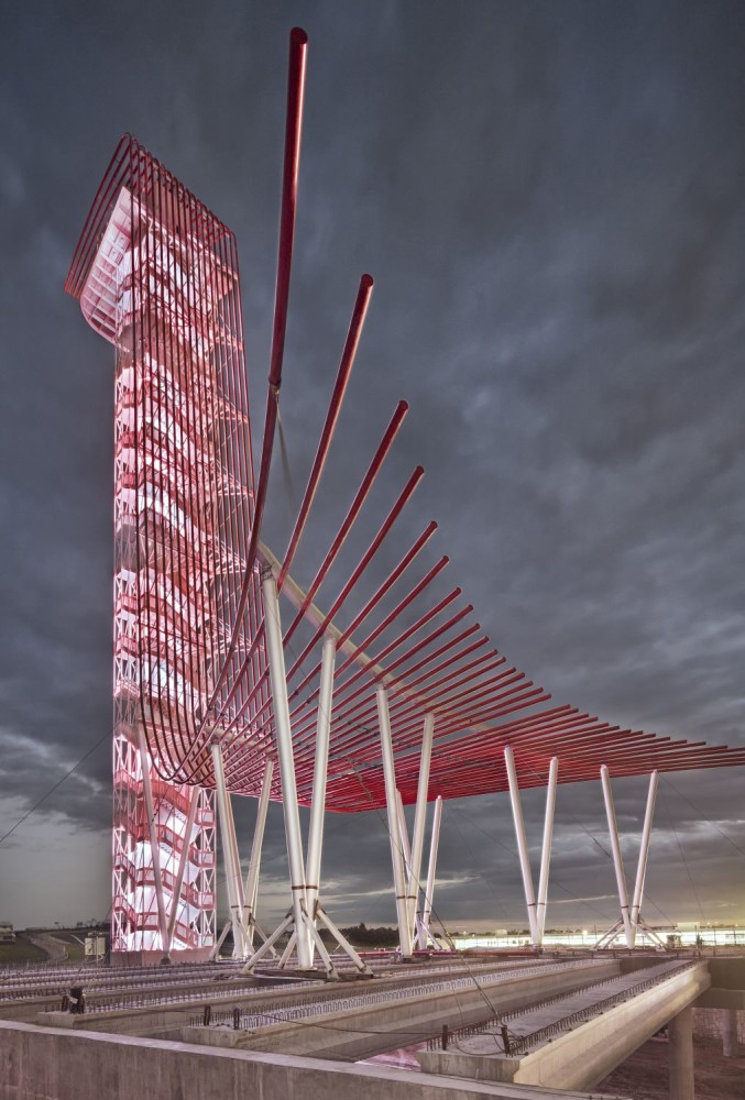 Located in Austin, Texas, the Circuit of the Americas Observation Tower and Austin360 Amphitheater features structural steel evoking the glow of tail lights. Photo courtesy AISC. Photo by Paul Finkel