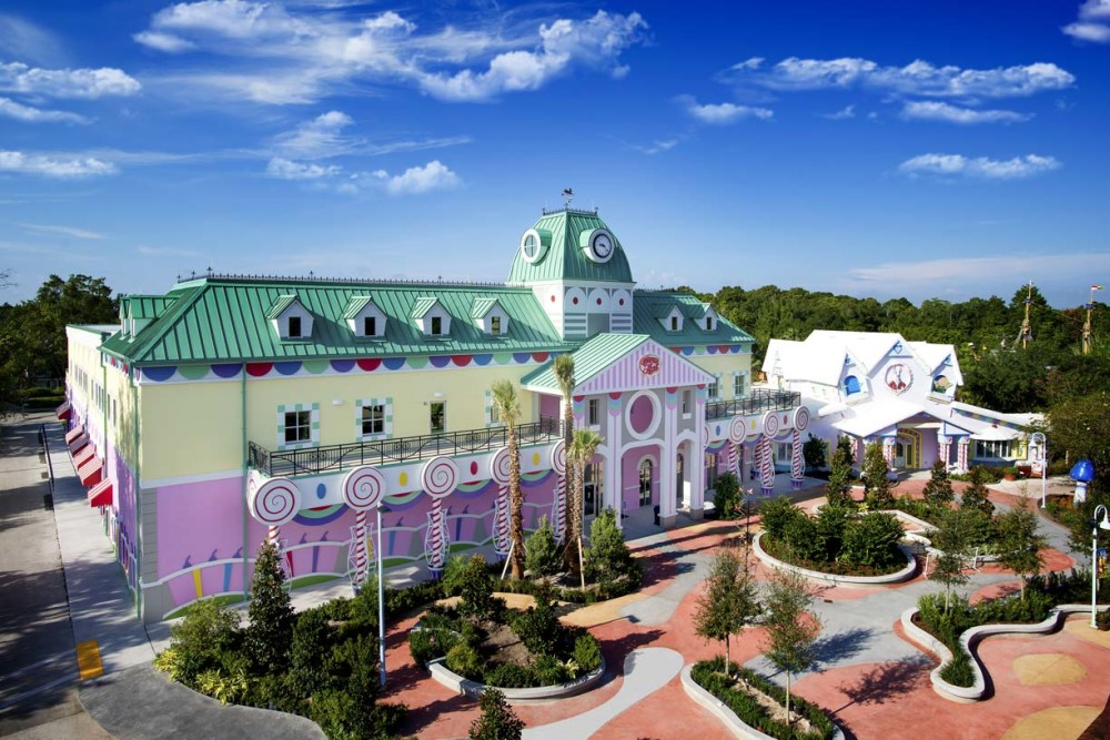 Metal panels were installed on the roof of the eye-catching Give Kids the World Village in Kissimmee, Florida. Photo courtesy Petersen Aluminum Corp.