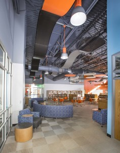 Acoustical ceiling clouds offer both aesthetic appeal and sound control function.