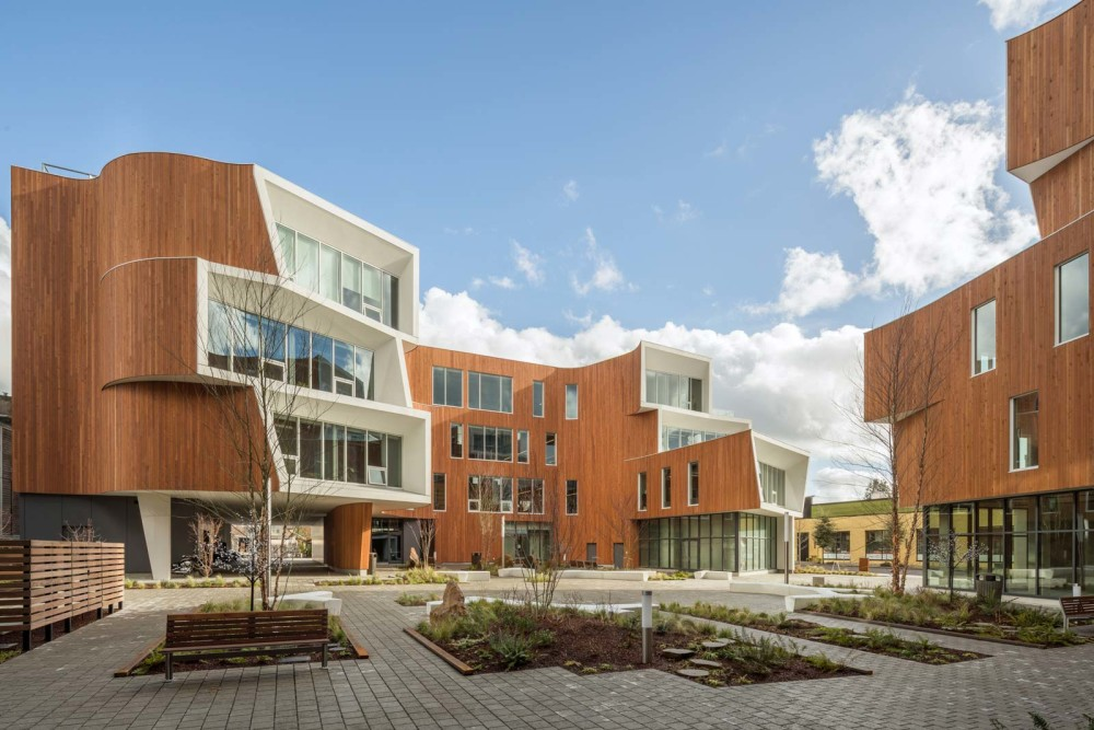 Housing retail and office space, One North in North Portland, Ore., features second-growth cedar siding in keeping with its dedication to sustainable design. Photos by Andrew Pogue Photography