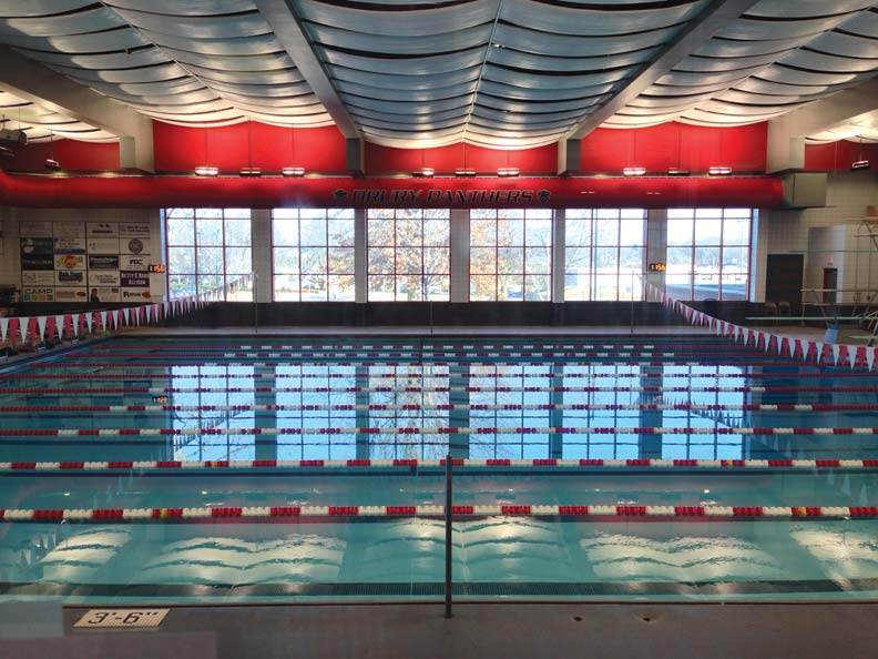 Drury University Breech Pool in Springfield, Missouri, has been reborn, thanks to a new dehumidifier assembly that improves efficiency and cuts down on potential for illness caused by poor indoor air quality (IAQ). Photos courtesy Dectron