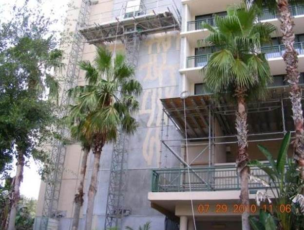 Replacement stucco on lath on same building as shown in the picture above, which was applied with the knowledge the previous stucco had cracked, cracked as well.