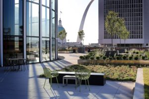 The building's occupants can enjoy views of the city's landmarks, including the Arch and the Old Courthouse.