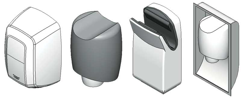 BIM models for various restroom accessories. Images courtesy Bradley Corp.