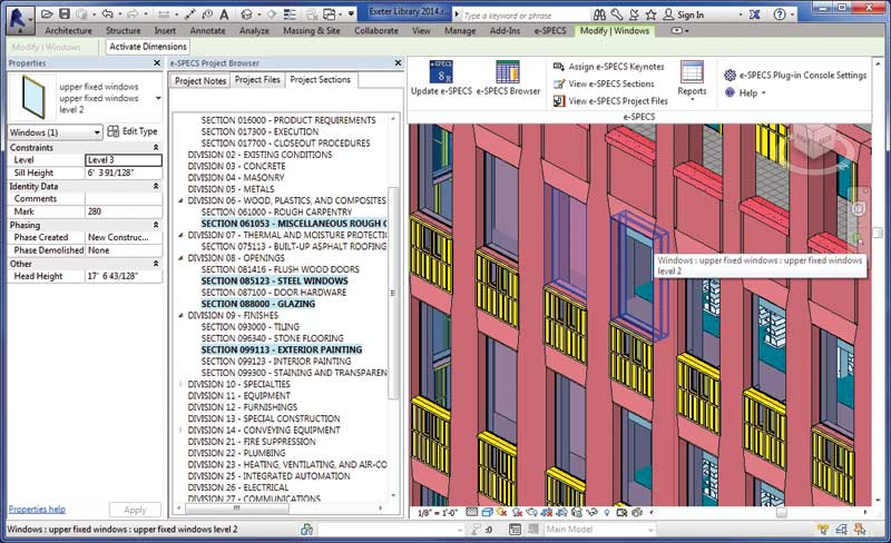 BIM-based specifications systems connect and synchronize the project file with the project specifications. Image courtesy InfoSpec/e-Specs for Revit