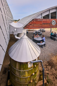 The center harvests rainwater from the roof. It is then filtered for drinking and hand-washing.