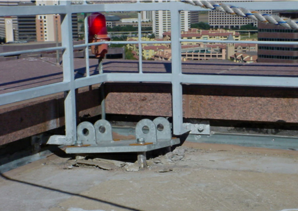 An example of a davit base failure. Photo courtesy Building Diagnostics Inc.