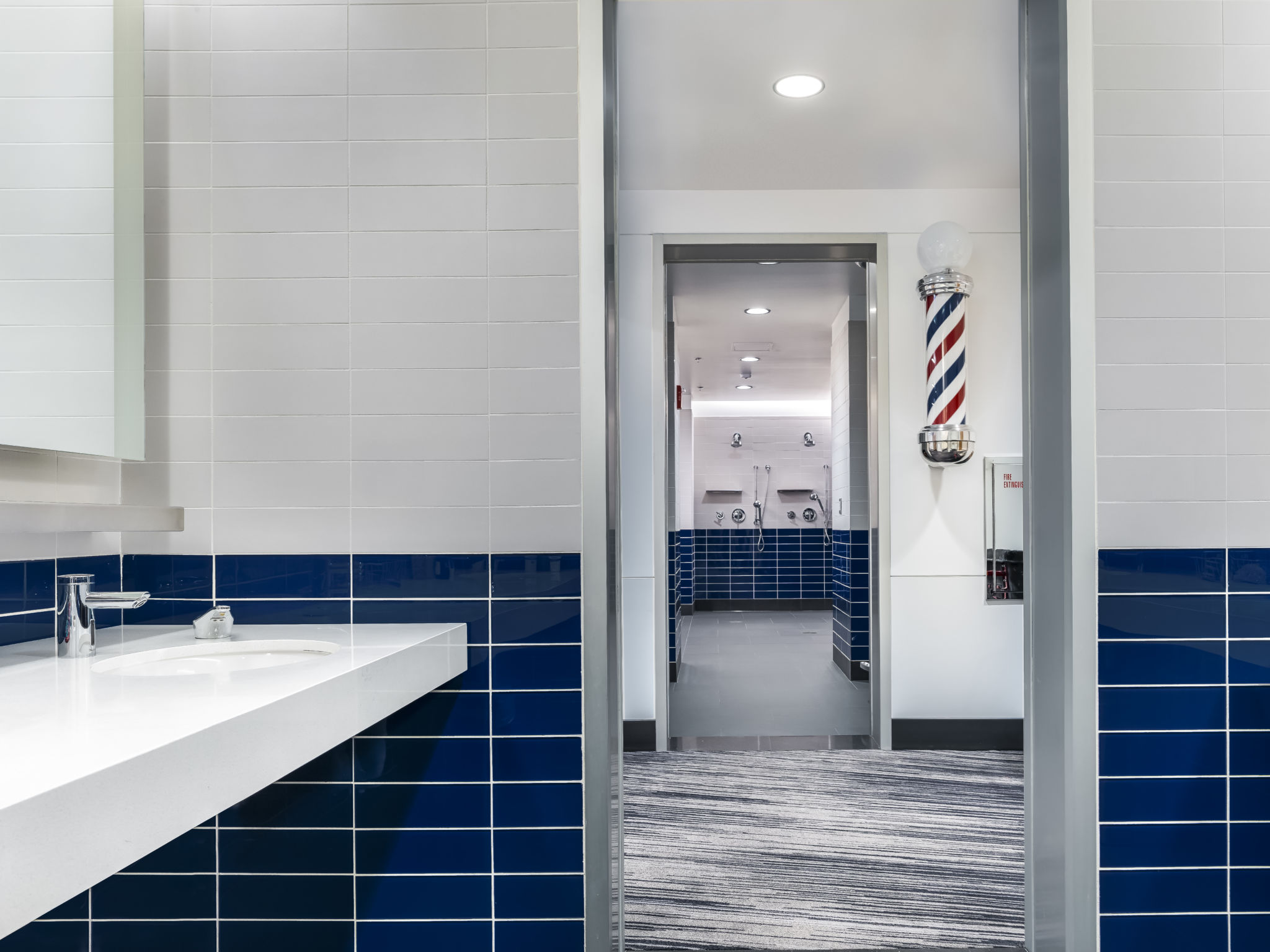 The new Chicago Cubs clubhouse has been fitted with hands-free, water-efficient devices to maximize sustainability and minimize the spread of germs. Photo © Hedrich Blessing