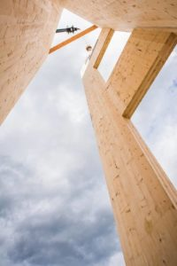 The elevator shaft for a new multi-use building in Whitefish, Montana, was constructed from cross-laminated timber (CLT), which reduced project construction time by approximately three weeks. Photo courtesy SmartLam