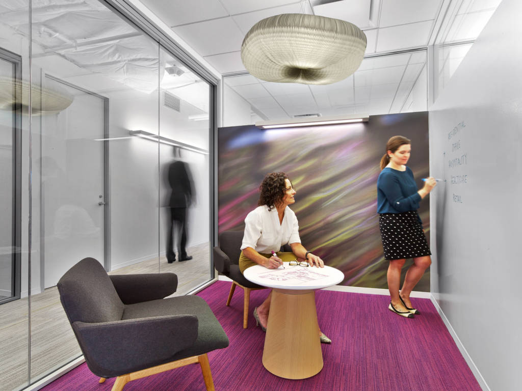 The Office Features Elements Such As Sound Masking, Circadian Lighting, And  A Wellness Room For Employees.