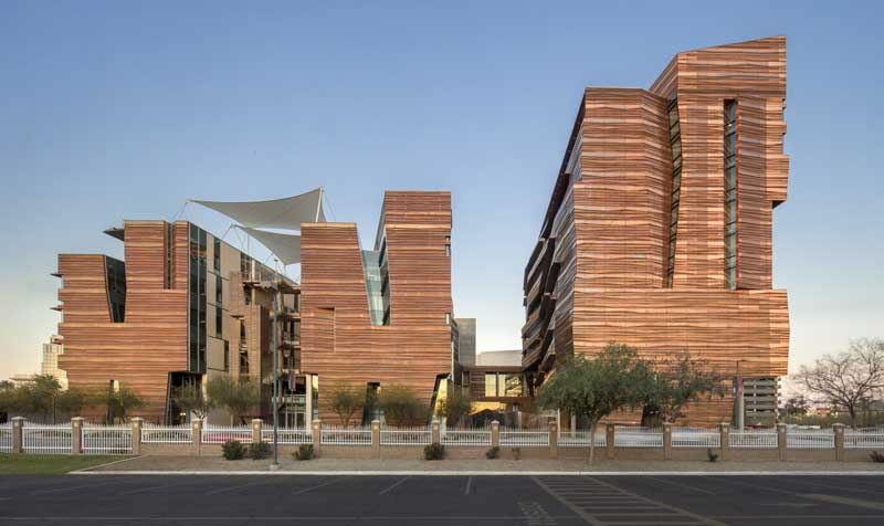 The Health Sciences Education Building (HSEB) and the Biomedical Sciences Partnership Building (BSPB) at the University of Arizona.