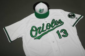 The Orioles wore green-accented uniforms on Earth Day, which were later auctioned off in support of the Chesapeake Bay Foundation. Photo by Baltimore Orioles