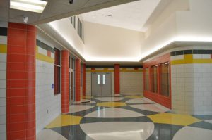 Designers developed a multicolor palette with a separate color theme created for each school wing.