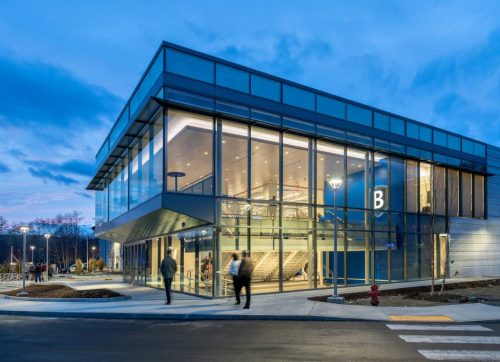 Bentley Arena features more glass windows than a typical arena, which allows for more natural light and decreases the amount of electricity needed to light the building's interior. Photo courtesy Bentley University
