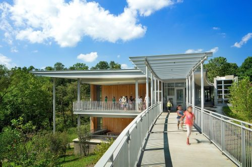 Frick Environmental Center is designed to use 40 percent less energy when compared to buildings of the same size in the same region. Photo by Elliott Cramer for Denmarsh Photography