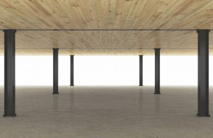 Steel and timber system rendering with cross-laminated timber (CLT) floor planks, steel beams and columns, and composite concrete topping slab. Images courtesy Skidmore, Owings & Merrill