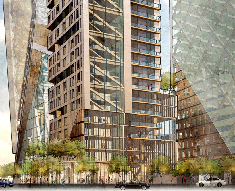 The Timber Towers concept released by Hickok Cole Architects demonstrates the viability of mass timber skyscrapers. Images courtesy Hickok Cole Architects