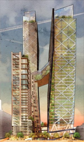 The conceptual Timber Towers complex would feature two office buildings, linked by a connecting bridge.