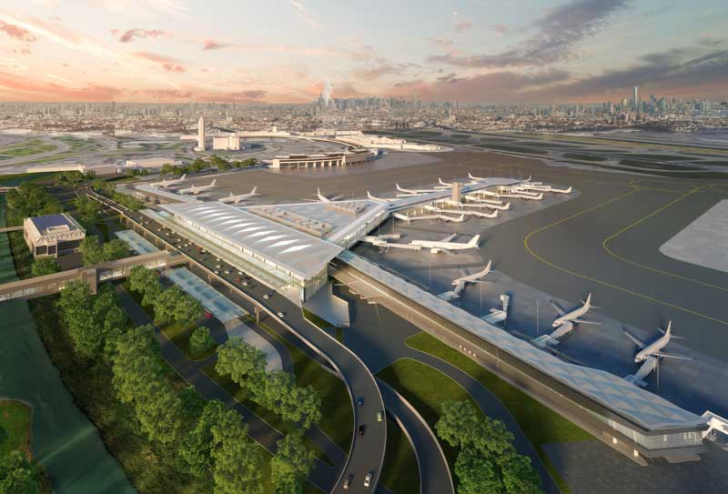 Designed by Grimshaw Architects, Newark Liberty International Airport's new Terminal One will include 33 gates. Images courtesy Grimshaw