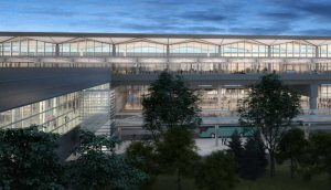 The facility's new pedestrian bridge will link the airport's monorail system to its parking garage.