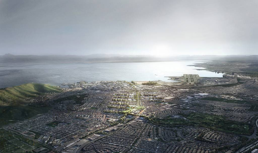 Hassell+ team proposes managing potential flooding along San Mateo County's Colma Creek by widening and greening the canal. Images courtesy Hassell