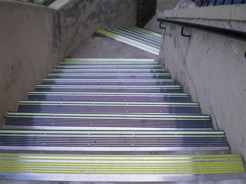 The San Antonio River Walk in Texas incorporates stair nosings with aluminum PL strips designed and tested for use in outdoor applications.