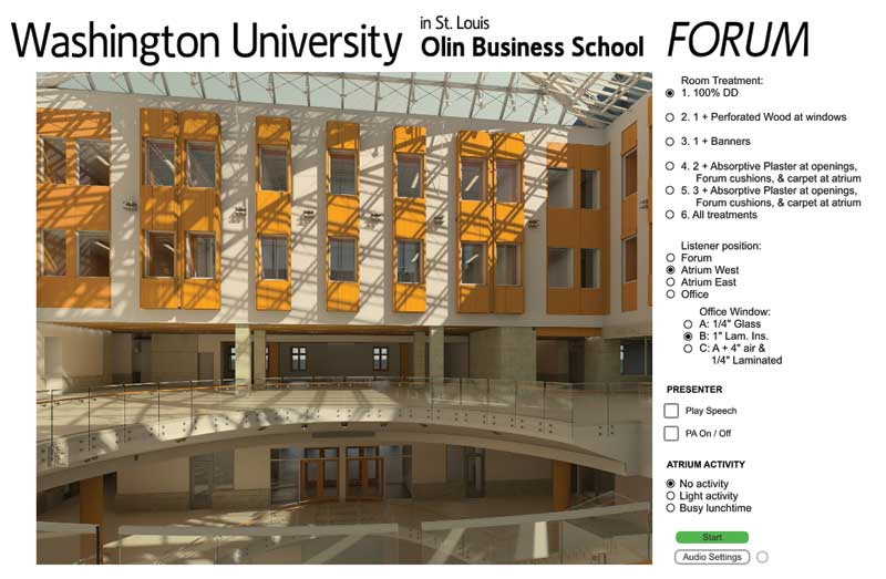A screen grab of the 3D listening simulation employed at The Olin School of Business to determine the most effective sonic design. Image courtesy Acentech