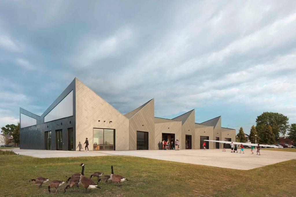 Diagonal paneling on the facility's exterior walls creates visual interest.