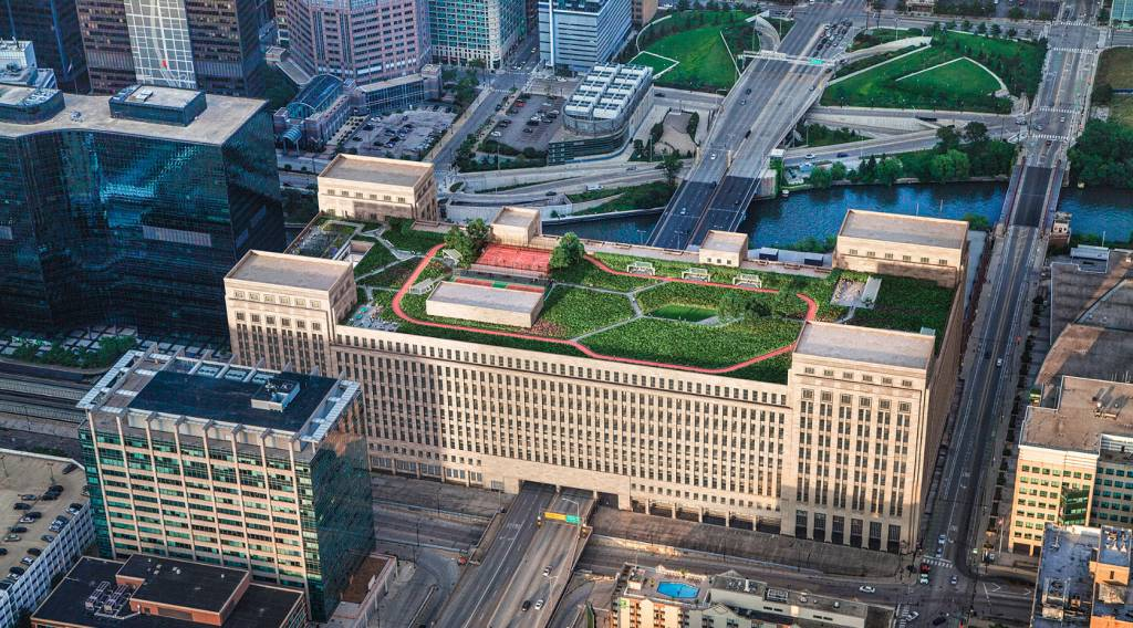 Gensler's renovation of the Old Chicago Main Post Office includes plans for a 4-acre rooftop terrace. All images © 601w Companies/Gensler