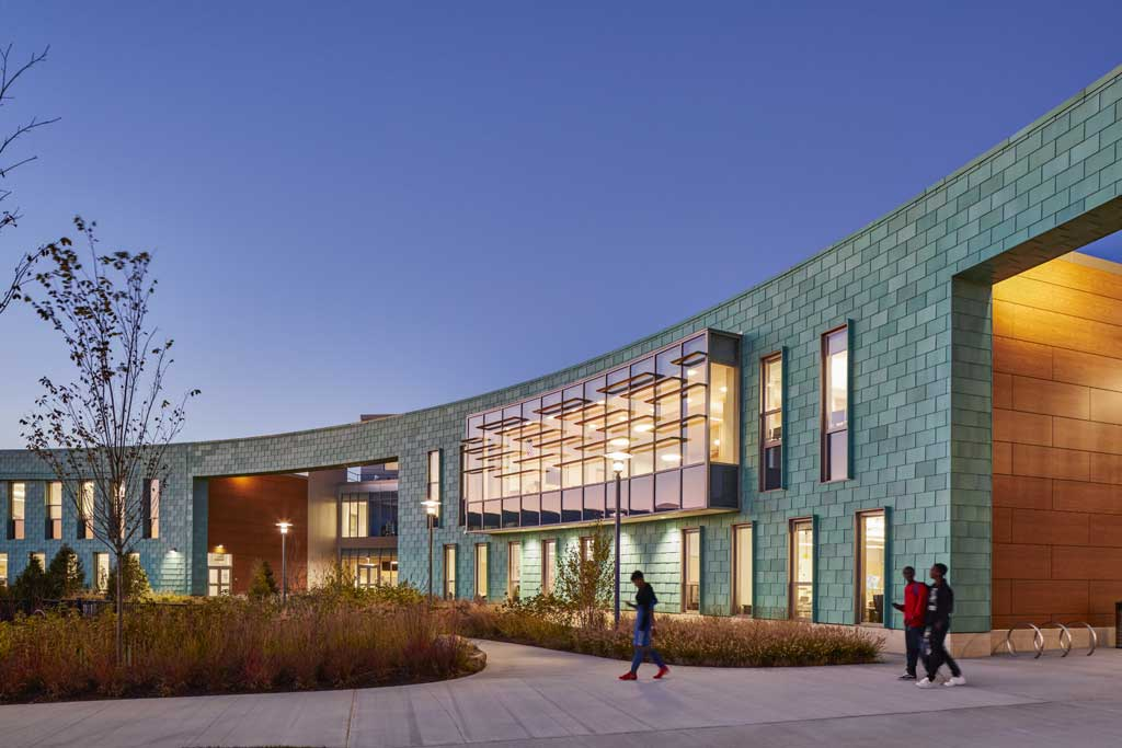 Holbrook PreK-12 School in Massachusetts, which features a pre-patina copper panel system, received a North American Copper in Architecture award in the New Construction category. Photo © Robert Benson Photography