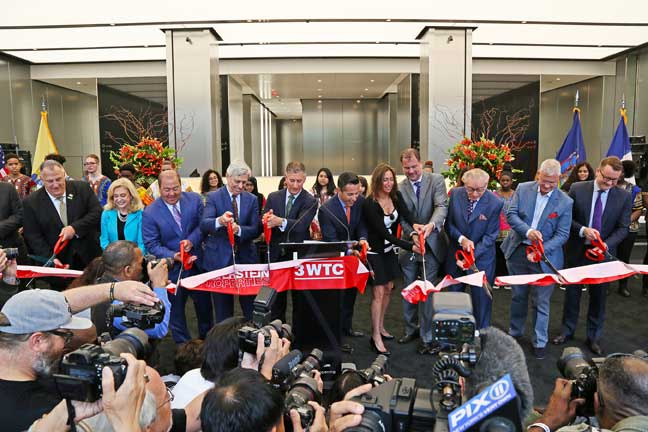 """This is a moment of enormous pride for me and for everyone in the Silverstein organization,"" said Larry A. Silverstein at 3 WTC's ribbon-cutting ceremony on June 13. Photo © Joe Woolhead"