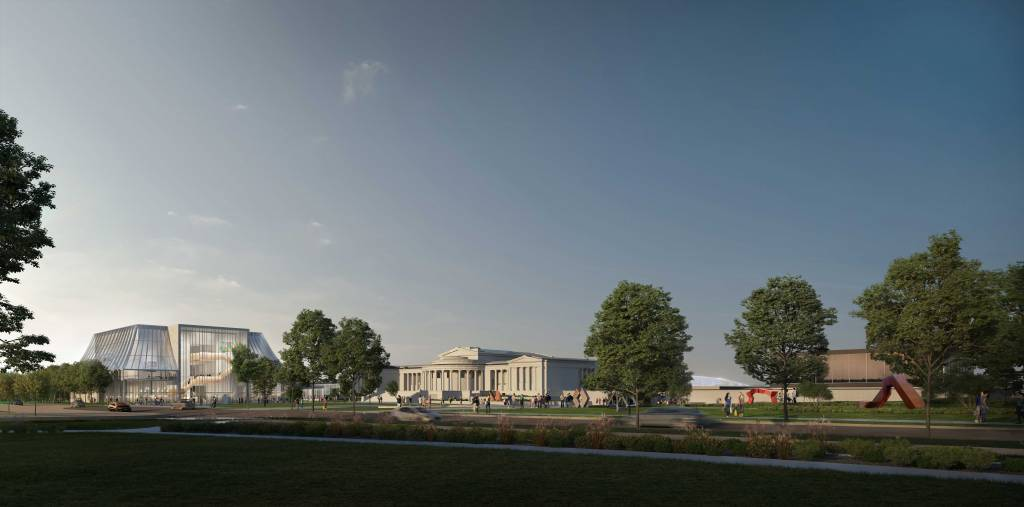 The North Building at the Albright-Knox Art Gallery is expected to create an additional 2684 m2 of space. Images © OMA
