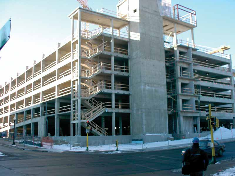 This six-level parking garage in Minnesota included a superplasticizer to increase concrete strength and workability. For corrosion mitigation, a migrating corrosion inhibitor was employed as added problems with cracking and strength were experienced in the first two decks that were treated with calcium nitrate (CNI). Photos courtesy Cortec Corp