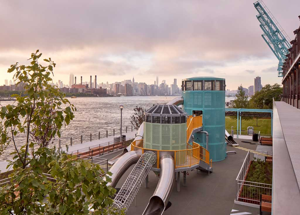 The park's Sweetwater Playground pays homage to the Domino Sugar Factory and the history of the sugar industry.