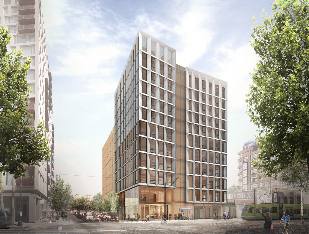 Construction plans for Framework Tower, a 12-story cross-laminated timber building in Portland, Oregon, have been shelved indefinitely. Image courtesy The Framework Project