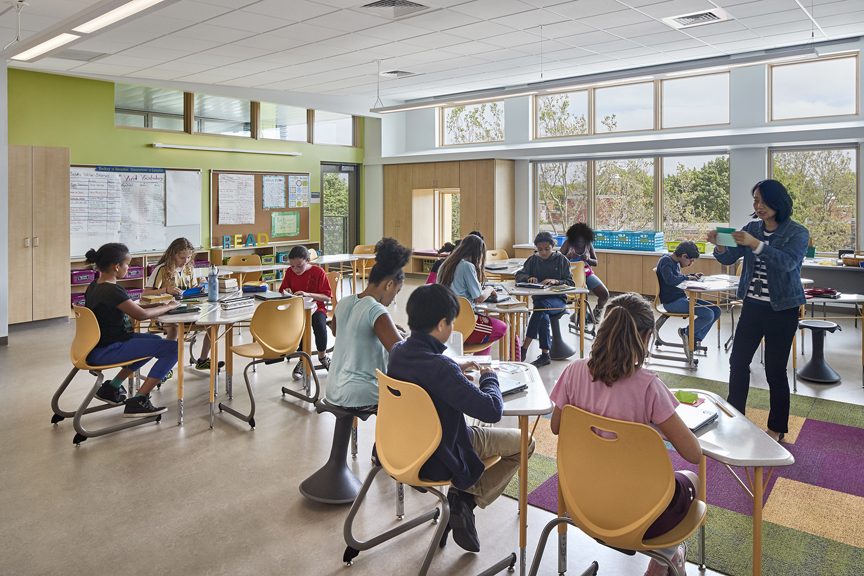The Dr. Martin Luther King Jr. School and Putnam Avenue Upper School Project has achieved Leadership in Energy and Environmental Design (LEED) Platinum certification. Photo © Robert Benson. Photo courtesy Perkins Eastman