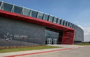 The storefront, curtain wall, and entrances systems employed on the Dan Dipert Career + Technical Center in Texas emphasize transparency and promote collaboration and connection. Photo © Chad M. Davis, AIA, NCARB, LEED AP. Photo courtesy Tubelite