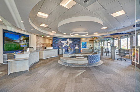 Modern ceiling system transforms california bank construction