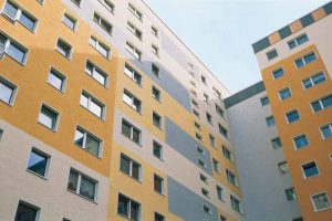 Mineral wool has been used as an insulation layer behind various claddings, especially curtain walls, spandrel panels, rainscreen façades, and EIFS.